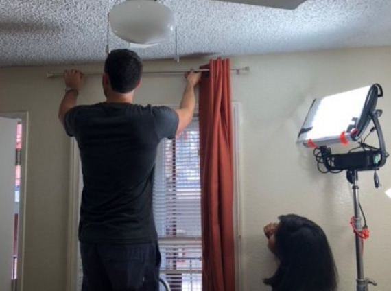 Hanging curtains is harder than it looks! - San Diego