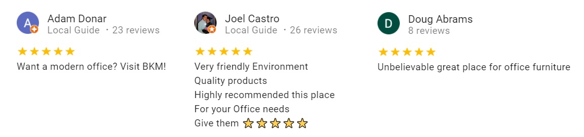 Google reviews from three people